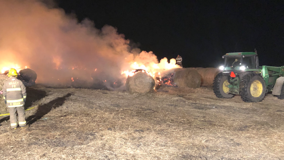 Fire destroyed over a hundred bales of hay at a farm west of Millet Tuesday morning. April 13, 2021 (Courtesy: Millet Fire Department/Twitter)