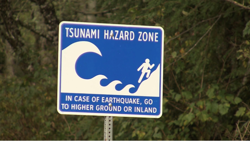 A tsunami hazard zone sign is pictured on Vancouver Island: (CTV News)