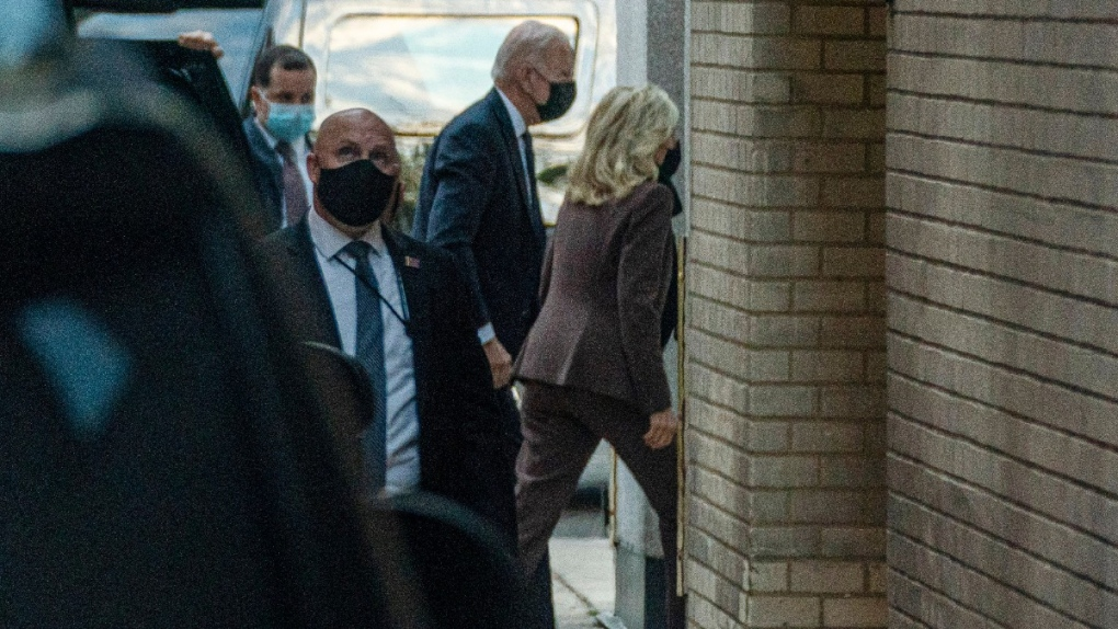 President Joe Biden accompanies first lady Jill