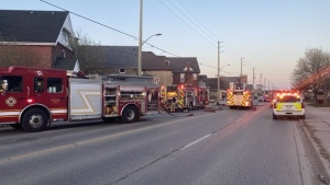 London fire crews on scene for a basement fire on Hamilton Road on Tuesday, April 13, 2021. (Supplied)