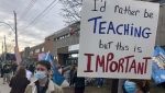 Teachers on strike in front of the Lasalle Community Comprehensive High School on April 14, 2021. (Billy Shields, CTV News)
