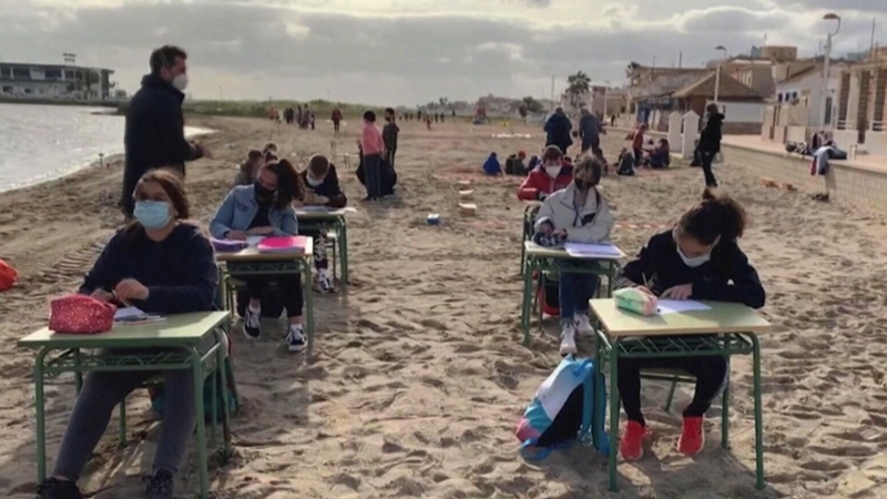 Classroom for students to learn on the beach