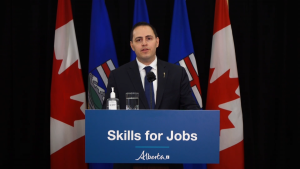 Alberta Advanced Education Minister Demetrios Nicolaides introduces the Skilled Trades and Apprenticeship Education Act on April 13, 2021, calling the current Apprenticeship and Industry Training Act, introduced in 1991, dated and restrictive.