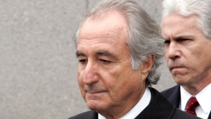 Bernie Madoff exits federal court in Manhattan, New York, on March 10, 2009. (David Karp / AP)