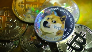 Dogecoin, the crypocurrency that features the face of a Shiba Inu dog as its logo, has surpassed 10 cents for the first time. (Yuriko Nakao/Getty Images)