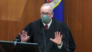 Hennepin County Judge Peter Cahill presides over a hearing in the trial of former Minneapolis police Officer Derek Chauvin, on April 13, 2021. (Court TV via AP, Pool)