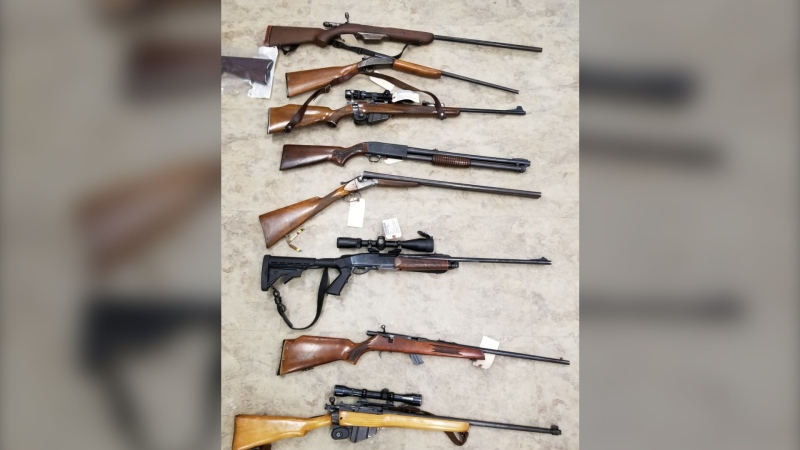 During the searches, police say they recovered eight firearms, a Honda generator and two televisions, along with several pairs of snowshoes, lawn-care equipment, fishing rods and various camping-related items.  (Photo courtesy: RCMP)