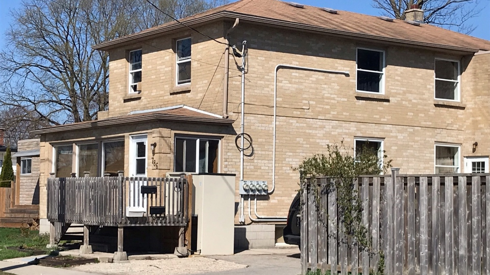 A teen was injured in a shooting on Walker Street in London, Ont., as seen Wednesday, April 14, 2021. (Sean Irvine / CTV News)