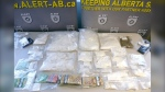 Some of the drugs and cash seized by the Alberta Law Enforcement Response Teams. (ALERT handout)