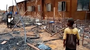 Burnt chairs, tables and other objects in the school, in Niamey, Niger, on April 14, 2021. (Boureima Issoufou / AP)