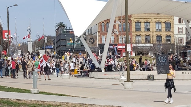 A protest at Meridian Place in Barrie, Ont. on Sat. April 10, 2021 (Submitted photo)