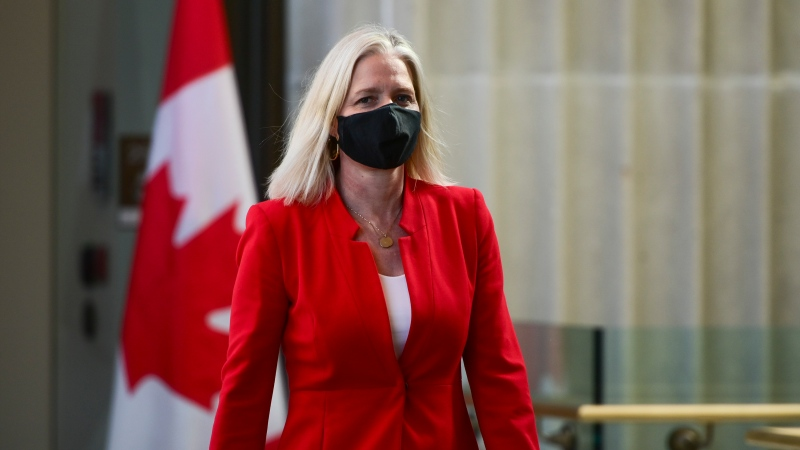 Minister of Infrastructure and Communities Catherine McKenna arrives to hold a press conference in Ottawa on Monday, March 29, 2021. THE CANADIAN PRESS/Sean Kilpatrick