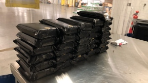 62 kilograms of cocaine worth $3.5 million seized at the Blue Water Bridge in Point Edward, Ont. on March 31, 2021. (RCMP/Supplied)