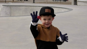 Three-year-old Grayson Griswold does his part to keep his skatepark clean.