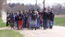Saugeen Ojibway Nation Water Walk near Teeswater, Ont. on April 14, 2021. (Scott Miller/CTV London)