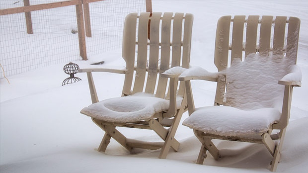 Couple lonely deck chairs in the Old St Vital area. Photo by Ken Porath.