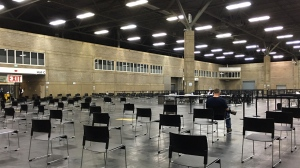 As of 10:15 a.m. on April 14, only 250 had booked to receive an AstraZeneca COVID-19 vaccine at the EXPO Centre mass vaccination clinic in Edmonton. (Courtesy: Joanne Scott)
