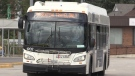 A Barrie Transit bus has a sign that reads Essential Travel Only. (CTV Barrie)