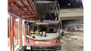 Evidence shows the OC Transpo double-decker bus that crashed at the Westboro Transitway station.