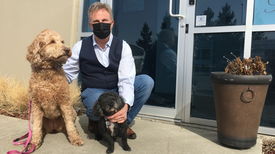 Robert Bray and his dogs Paisley and Murphy. April 14, 2021. (CTV News Edmonton)