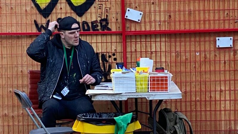 Trey Helton spent about a decade believing he would die on the streets from an overdose. He is now five years drug-free, and has been able to work his way up the ranks to become a manager at the safe injection site. (Melanie Nagy)