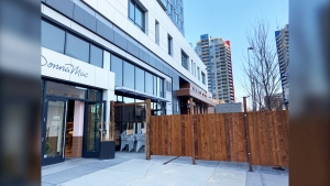 A fenced off pop up patio is set to open outside Donna Mac.
