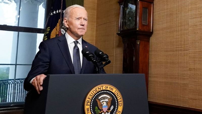 U.S. President Joe Biden speaks from the Treaty Room in the White House on Wednesday, April 14, 2021, about the withdrawal of the remainder of U.S. troops from Afghanistan. (AP / Andrew Harnik, Pool)