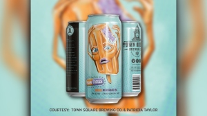 A design on a beer can by Patricia Taylor for Town Square Brewing Co. (Courtesy: Town Square Brewing Co. and Patricia Taylor)