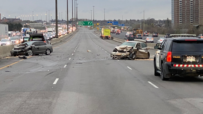 A 78-year-old woman has died following a collision on Highway 401 on April 15, 2021. (Twitter/@OPP_HSD)