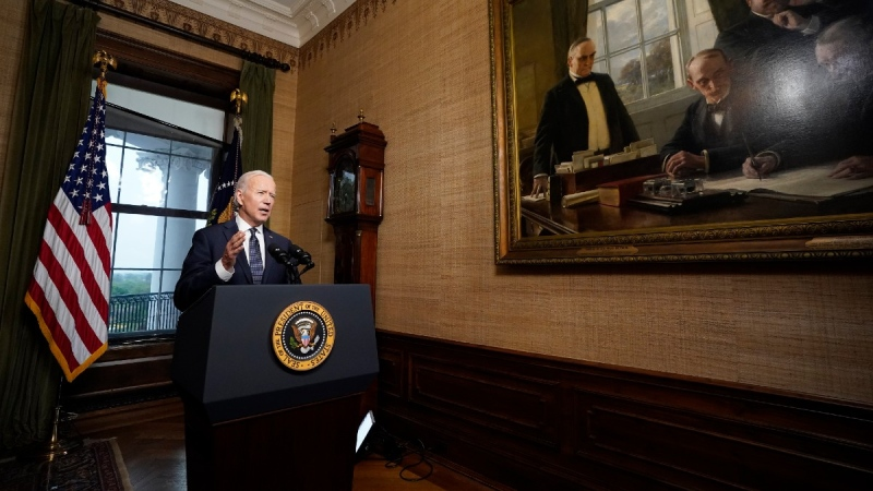 U.S. President Joe Biden speaks from the Treaty Room in the White House on April 14, 2021. (Andrew Harnik / AP)