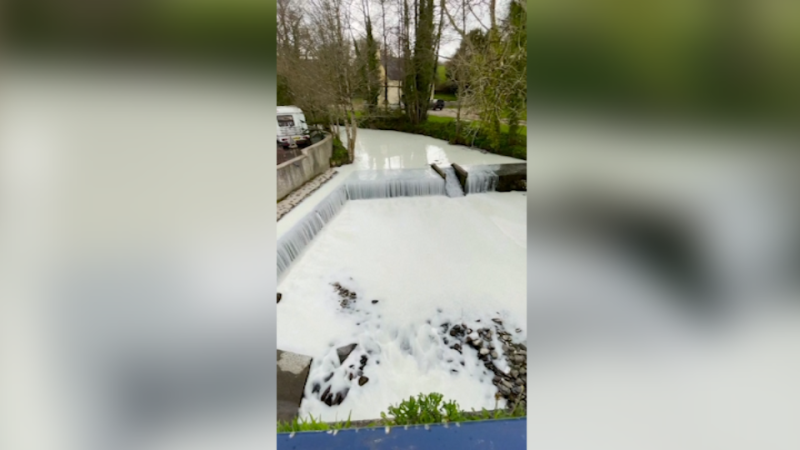 Officials in Llanwrda, Wales, U.K., are assessing the impact of a tanker that crashed and spilled milk into the River Dulais on April 14, 2021, turning it white. (Credit: May Lewis)