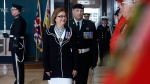 Lieutenant Governor, Judy Foote, followed by Guard Commander Major Robert McKenzie inspects the Honour Guard at the Confederation Building in St. John's, N.L. on Thursday, April 4, 2019. THE CANADIAN PRESS/Paul Daly