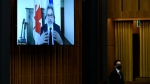 Leader of the Government in the House of Commons Pablo Rodriguez is seen via videoconference as he rises during Question Period in the House of Commons on Parliament Hill in Ottawa on Friday, Jan. 29, 2021. THE CANADIAN PRESS/Justin Tang