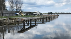 Docks on Lake Nipissing show low water levels. April 14/21 (Alana Pickrell/CTV Northern Ontario)