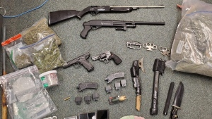 A number of drugs and weapons seized by Waterloo regional police. (Source: WRPS) (Apr. 15, 2021)