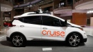In this Jan. 16, 2019, file photo, Cruise AV, General Motor's autonomous electric Bolt EV is displayed in Detroit. (AP Photo/Paul Sancya, File)
