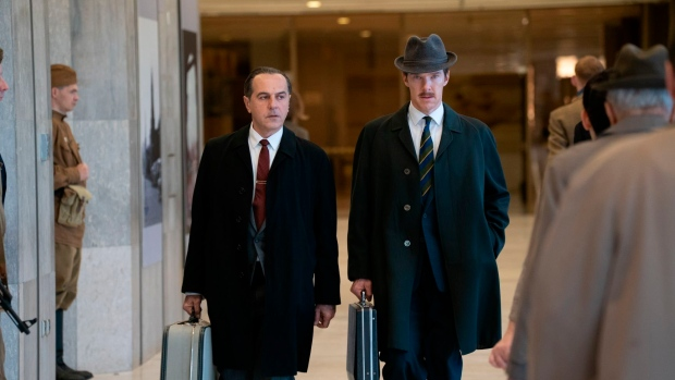 "This image released by Roadside Attractions shows Merab Ninidze, left, and Benedict Cumberbatch in a scene from ""The Courier."" (Liam Daniel/Roadside Attractions via AP)"