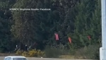 A man can be seen removing a symbolic dress from off a Vancouver Island highway: (Stephanie Goudie / Facebook)
