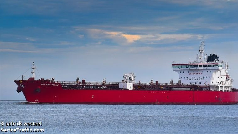 Karl Risser, Atlantic inspector for the International Transport Workers Federation, said Thursday one crew member on the STI San Telmo has tested positive and is in quarantine in a Sydney, N.S., hotel. (Photo courtesy: MarineTraffic.com)