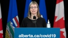 Alberta's chief medical officer of health Dr. Deena Hinshaw provided, from Edmonton on Tuesday, April 13, 2021, an update on COVID-19 and the ongoing work to protect public health. (photography by Chris Schwarz/Government of Alberta)
