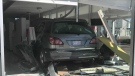 A vehicle crashed into this north Edmonton dental office on Thursday, April 15, 2021. (Matt Marshall/CTV News Edmonton)