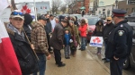 Anti-lockdown protest in Strathroy, Ont. on April 15, 2021. (Bryan Bicknell/CTV London)