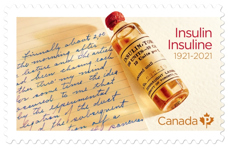 Canada Post stamp marking the 100th anniversary of the discovery of insulin in 1921 by Sir Frederick Banting in London, Ont.