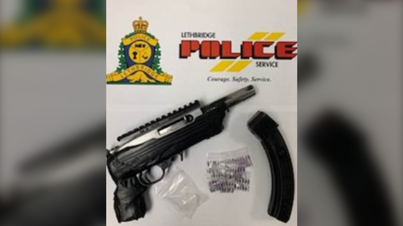 Lethbridge police seized a firearm and a conducted energy weapon during a drug bust on Wednesday evening. (Supplied)