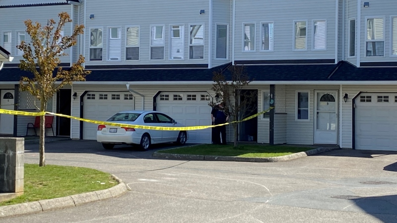 Police tape blocks a scene in Chilliwack, B.C., on Thursday, April 15, 2021. (Scott Connorton / CTV News Vancouver)