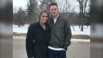 Taylor McMahon and his fiancé Chrisie are pictured on April 14, 2021. The couple said they were given too much information about a competing offer for a home they were looking to buy, a violation of Manitoba real estate rules. The couple's bid ultimately was not successful. (CTV News Photo Josh Crabb)