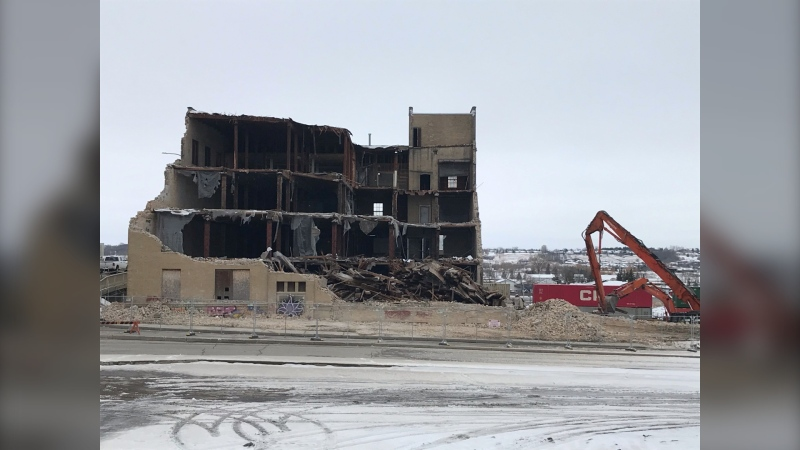 The demolition of the building began on April 7. (Source: Manitoba Infrastructure staff)