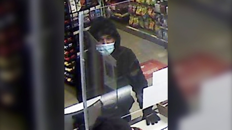 Airdrie police are asking for the public's assisting an unidentified suspect who robbed the Petro-Canada station at 190 East Lake Crescent N.E. on March 30, 2021 at 4 a.m.