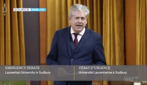 Canadian parliamentarians debated into the late hours Wednesday evening after the NDP's Charlie Angus was granted an emergency session. He's calling on the House of Commons to study the insolvency crisis Laurentian is facing and to come up with solutions. (Photo from video)