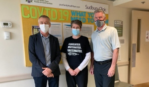 Dr. Tom Crichton left, Sandy Tegel and Dave Courtemanche, of the City of Lakes Family Health Team. (Alana Everson/CTV News)
